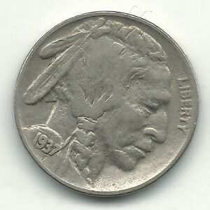 A VINTAGE VF/XF 1937 P BUFFALO NICKEL COIN OLD US COIN OCT539