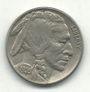 A VINTAGE FINE CONDITION 1935 P BUFFALO NICKEL COIN OLD US COIN OCT535