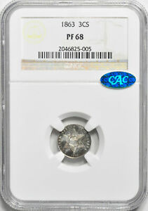 Click now to see the BUY IT NOW Price! 1863 SILVER 3CS NGC PR 68