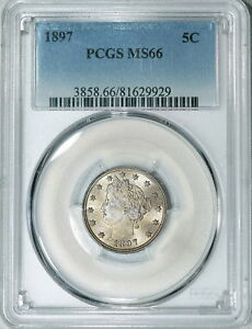 Click now to see the BUY IT NOW Price! 1897 PCGS MS66 LIBERTY NICKEL SUPER LUSTROUS & TOTALLY ORIGINAL TOUGHER DATE