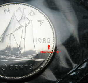 RCM   1980   10 CENTS   PROOF LIKE   UNCIRCULATED   NARROW
