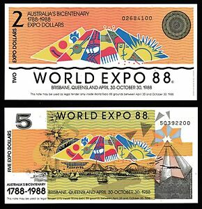 1988 WORLD EXPO SET OF 2 AUSTRALIAN BANK NOTES $2 & $5   MINT UNCIRCULATED