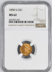 Click now to see the BUY IT NOW Price! 1858 S GOLD G$1 NGC MS 62