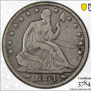 1854 50C SEATED LIBERTY HALF DOLLAR ARROWS PCGS F SCRATCH 6279 GOLD SHIELD COIN