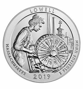 2019 LOWELL MASSACHUSETTS AMERICA THE BEAUTIFUL 5OZ SILVER COIN   ATB