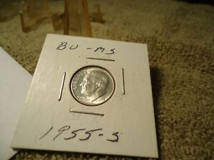 1955 S //  BU // ROOSEVELT DIME  SILVER  // ADDED  ITEMS  SHIP  FREE  //  1458