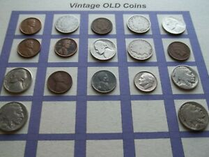 ESTATE LOT OF OLD COINS 50 TO 125 YEARS OLD WITH SOME SILVER  17 COINS   OC16