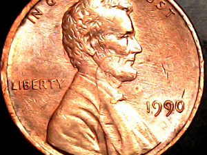 1990 P LINCOLN MEMORIAL CENT. DIE CRACKS DOTS & SCRATCHES. ERROR PENNY.