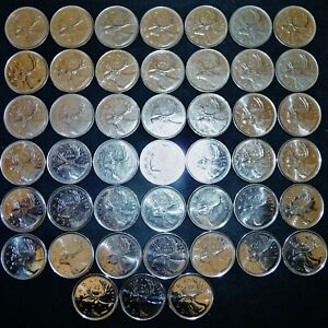 45 CANADA 25 CENTS CARIBOU 1968 2018 ALL DIFFERENT ALL DATES NOT INCLUDED LOT R