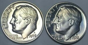 1969 S 1972 S ROOSEVELT MINT PROOF DIME FROM ORIGINAL U.S. PROOF SET BU