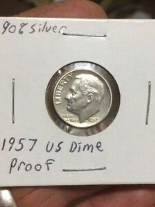 PROOF 1957 ROOSEVELT DIME   90  SILVER   AUTHENTIC PROOF   SILVER COIN