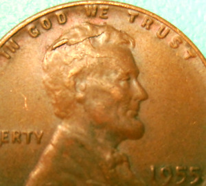 1955 WHEAT CENT CRACKED SKULL PLUS MAJOR LAMINATION OR CRAKED DIE ERROR  LOT A