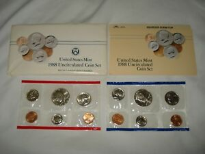 1988 US MINT SET   P&D UNCIRCULATED   HALF QUARTER DIME NICKEL & CENT BU