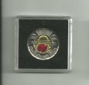 2018 ARMISTICE POPPY [COLORED] TWO DOLLAR COIN  TOONIE  CANADA