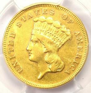 1868 THREE DOLLAR INDIAN GOLD COIN $3   CERTIFIED PCGS AU DETAILS    DATE