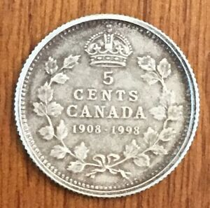5C MATTE 1908 1998 CANADA/CANADIAN ANTIQUE SILVER 5 CENT 90TH COIN SET NICKEL