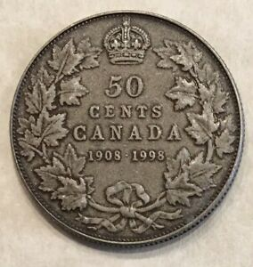 50C MATTE 1908 1998 CANADA/CANADIAN ANTIQUE SILVER 50 CENT 90TH COIN HALF DOLLAR