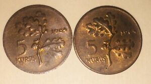 ANTIQUE COIN COLLECTION 5 KURUS 1964 TURKEY LOT OF TWO