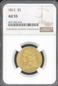 1812 $5 GOLD CAPPED BUST NGC AU55