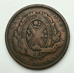 DATED : 1837   COPPER COIN   ONE PENNY TOKEN   CANADA PROVINCE DU BAS