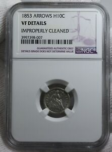1853 SEATED LIBERTY HALF DIME 5C H10C AROWS NGC GRADED VF DETAILS SILVER COIN