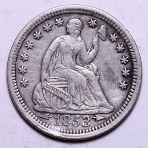 XF DETAILS 1853 SEATED LIBERTY HALF DIME     K10WCC