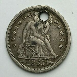 DATED : 1853   SILVER COIN   ONE DIME   10 CENTS COIN   AMERICA   USA
