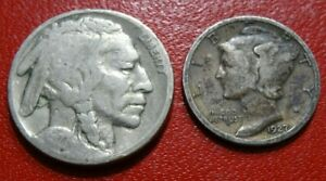 MIXED 1927 COIN LOT BUFFALO NICKEL 90  SILVER MERCURY DIME 5C 10C COLLECTION