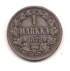 1872 S FINLAND SILVER MARKKA   HIGH CATALOG VALUE
