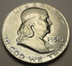 1958 D  SILVER UNC FRANKLIN HALF DOLLAR   ORIGINAL UNCLEANED COIN W. BELL LINES