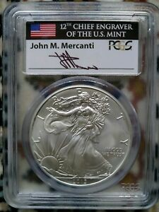 2013 FIRST STRIKE AMERICAN SILVER EAGLE PCGS MS 69 SIGNED BY JOHN M. MERCANTI