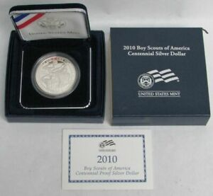 2010 P BOY SCOUTS OF AMERICA PROOF SILVER COMMEMORATIVE $1 DOLLAR COIN OGP