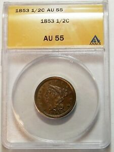 1853 BRAIDED HAIR 1/2 CENT ANACS AU 55