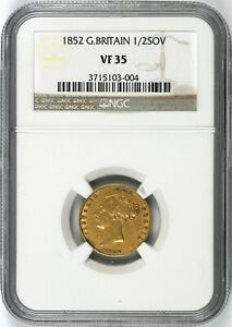 1852 GREAT BRITAIN GOLD 1/2 SOVEREIGN NGC VF35