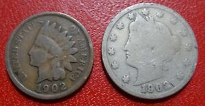 1902 MIXED LOT  2  COINS INDIAN HEAD SMALL CENT LIBERTY HEAD V NICKEL OLD 1C 5C