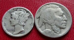 1923 COIN LOT BUFFALO NICKEL  1923 S SILVER MERCURY DIME 5C 10C COLLECTION