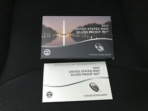 2017 SILVER  PROOF SET REPLACEMENT BOX AND COA ONLY   NO COINS