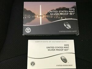 2015 SLVER  PROOF SET REPLACEMENT BOX AND COA ONLY   NO COINS