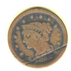 1852 BRADED HAIR LARGE CENT