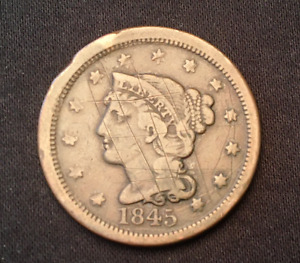 1845 BRAIDED HAIR LARGE CENT PENNY   PHILADELPHIA MINT COPPER COIN