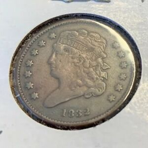 1832 HALF CENT 1/2C ANTIQUE COPPER COIN