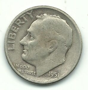 A VINTAGE GOOD/VG 1951 P ROOSEVELT SILVER DIME OLD US COIN OCT369