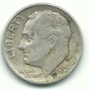 A VINTAGE VG 1952 P ROOSEVELT SILVER DIME OLD US COIN OCT371