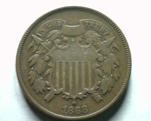 1868 TWO CENT PIECE FINE VF NICE ORIGINAL COIN FROM BOBS COINS FAST SHIP