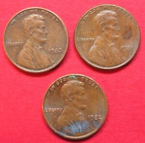 U.S.A. VINTAGE 3 COIN DATE RUN 1980   1982  LINCOLN  ONE CENT COINS  GOOD GRADES