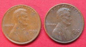 U.S.A. VINTAGE COLLECTABLE PAIR  LINCOLN ONE CENT COINS 1980 & 1980D GOOD GRADES