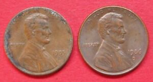 U.S.A. VINTAGE COLLECTABLE PAIR LINCOLN ONE CENT COINS 1985D & 1986D GOOD GRADES