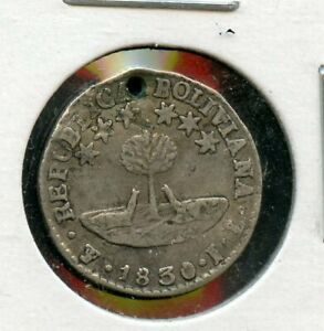 BOLIVIA BOLIVAR 1/2 SOL KM 93.2A 1830JL POTOSI HOLED SILVER COIN AS SHOWN X