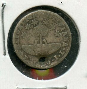 BOLIVIA BOLIVAR 1/2 SOL KM 93.2A 1830JL POTOSI HOLED SILVER COIN AS SHOWN IV