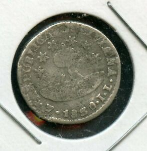 BOLIVIA BOLIVAR 1/2 SOL KM 93.2A 1830JL POTOSI UNHOLED SILVER COIN AS SHOWN III